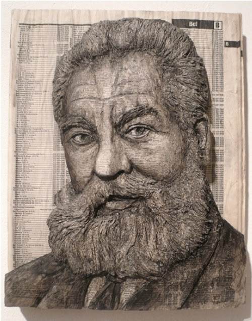 12-Alexander-Graham-Bell-Phone-Books-Sculpture-Carving-Cuban-Artist-Alex-Queral-WWW-Designstack-Co