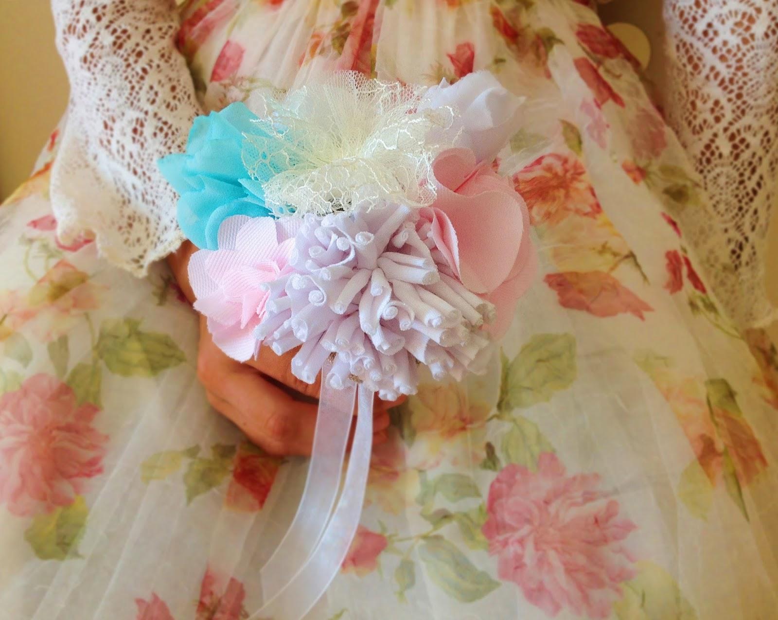 Linen fabric toss bouquet