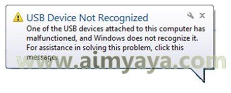 Gambar: Peringatan USB tidak dikenal pada pesan notifikasi yang dimunculkan windows