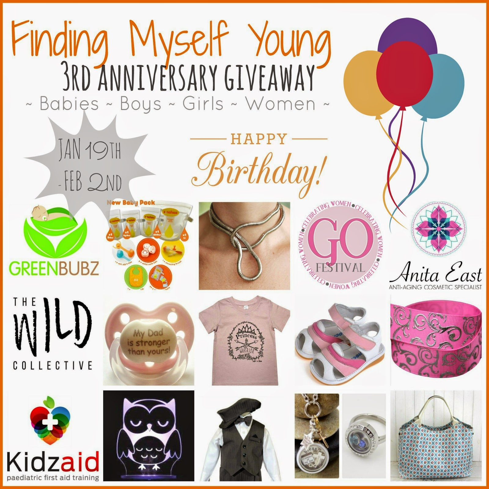 Finding Myself Young third blog anniversary giveaway