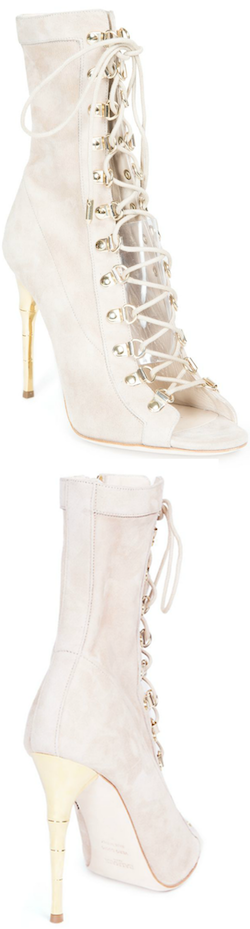 Balmain Ava Defile Suede Lace-Up Boots