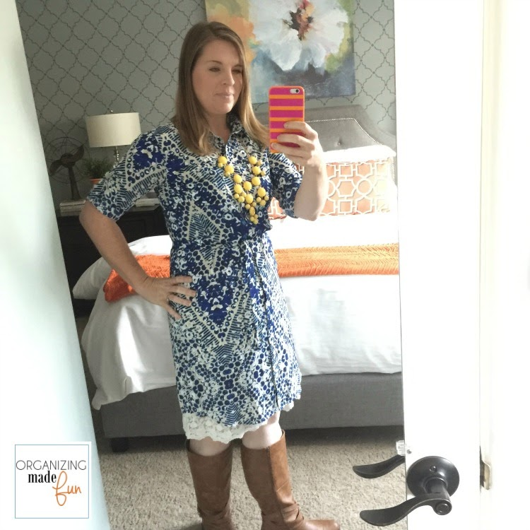 """Fashion Advice"" from an organizing blogger :: OrganizingMadeFun.com -- patterned blue shirt dress, boots"