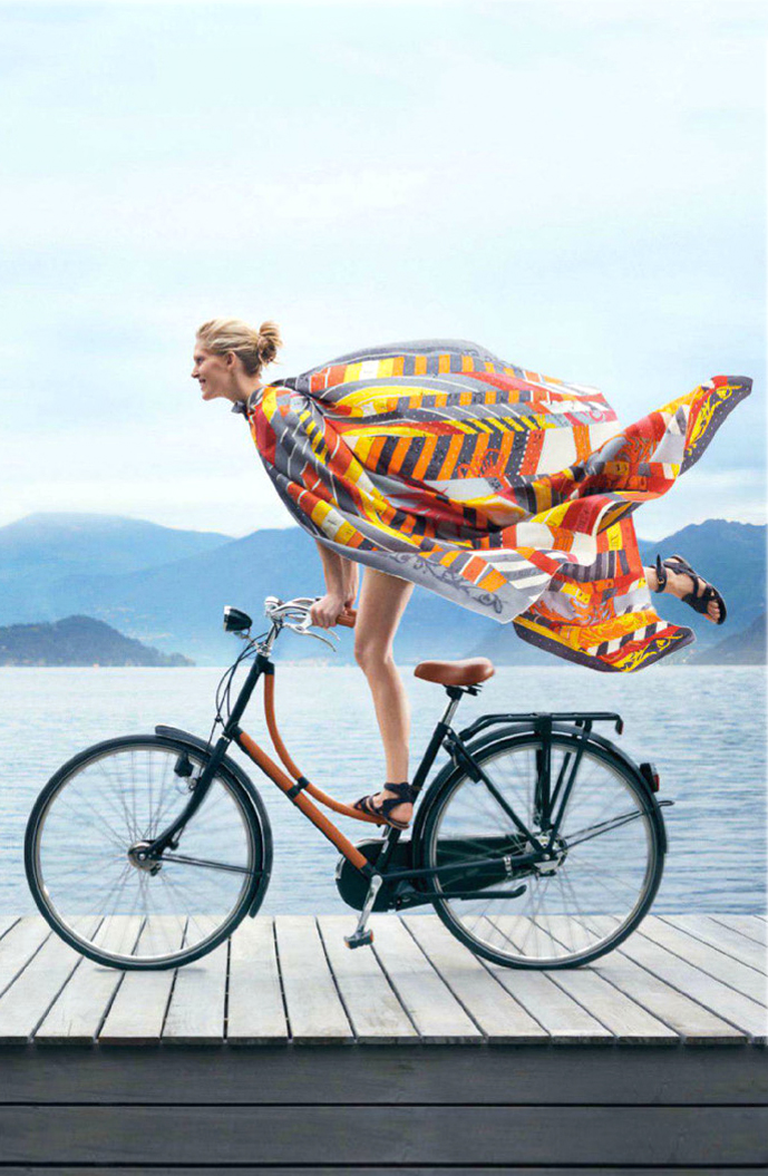 Iselin Steiro photographed by Nathaniel Goldberg for Hermes Spring/Summer 2013 ad campaign / bicycles in Vogue, Harper's Bazaar, Marie Claire, Elle fashion editorials and campaigns / via fashioned by love british fashion blog