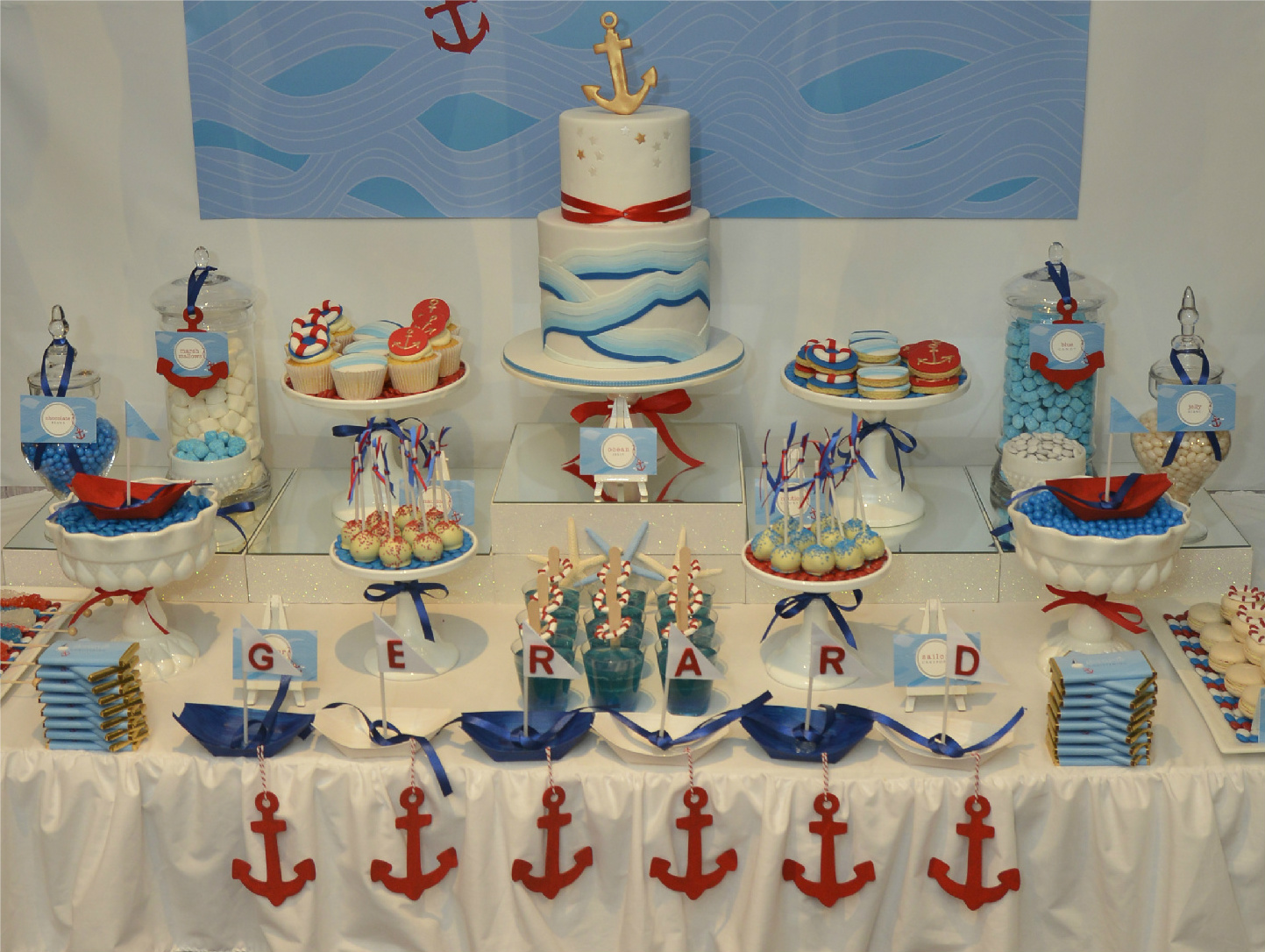 Events by nat ocean swirl nautical themed dessert table for Baby shower nautical decoration