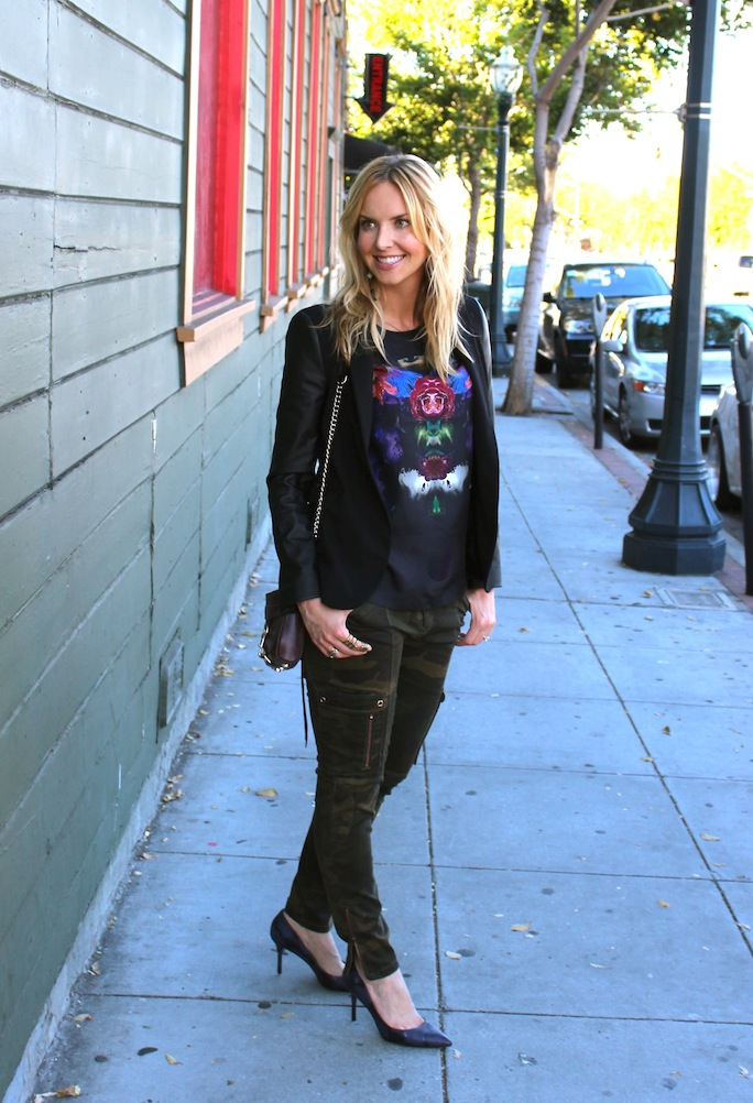 camo-pants-leather-sleeve-blazer-street-style