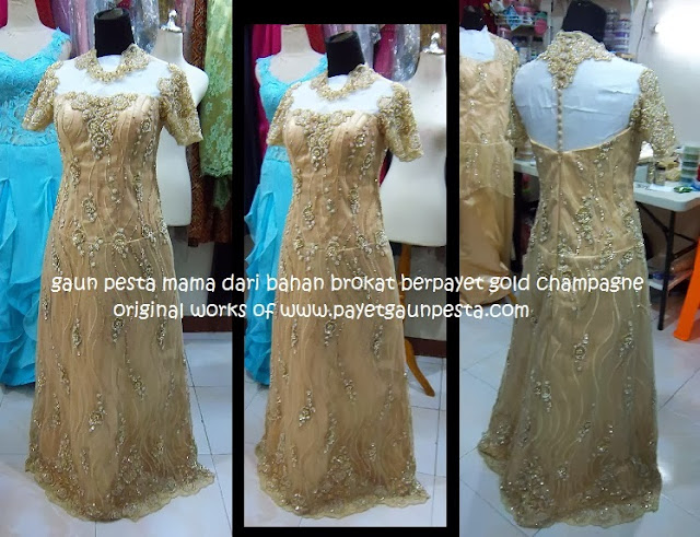 Baju Pesta Mama Model Dress Sifon Dan Brokat 3 Warna