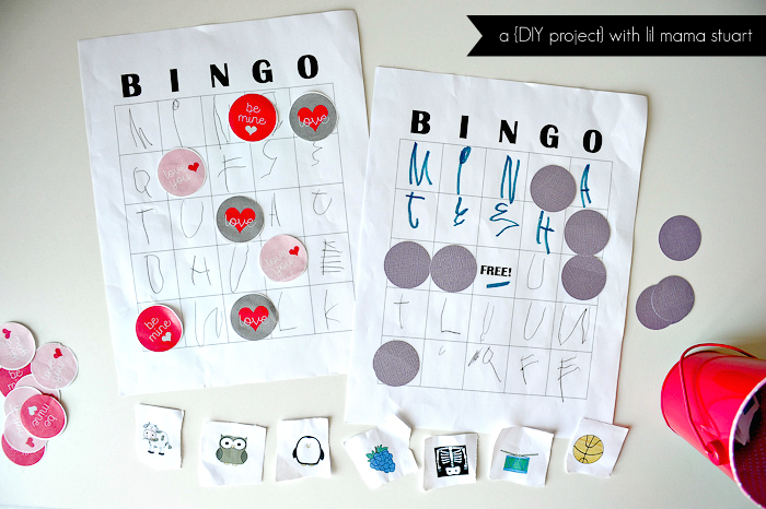 A day with lil mama stuart diy bingo game for toddlers and blank bingo cards diy bingo markers from cardstock clip art with a picture for each letter of the alphabet ie apple banana cow dog elephant etc spiritdancerdesigns Image collections