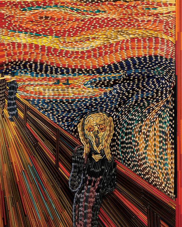 Tạo nên tranh vẽ kiệt tác từ hàng ngàn cây bút màu