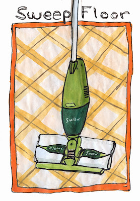 Sweep the Floor with my Swiffer Sweeper-Vac, Watercolour with Ink, by Ana Tirolese ©2012
