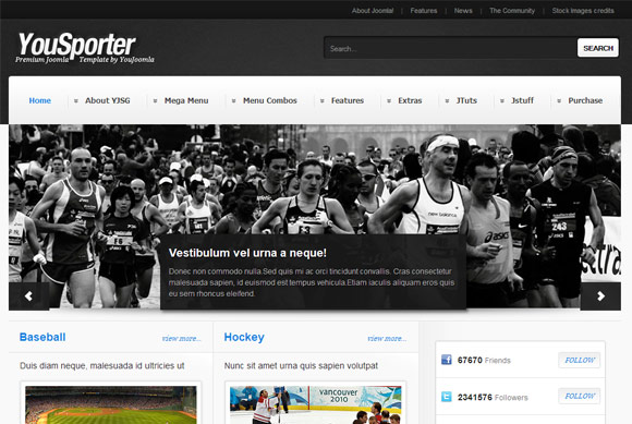 YouSporter - Sport Magazine Joomla Template Free Download by YouJoomla.