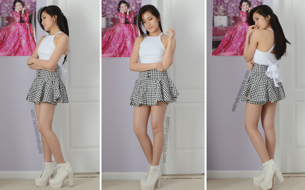 More OOTD photos with the JollyChic white tie-back crop top, Snidel houndstooth skort, and Milanoo/Jeffrey Campbell-dupe spiked Lita platform booties.