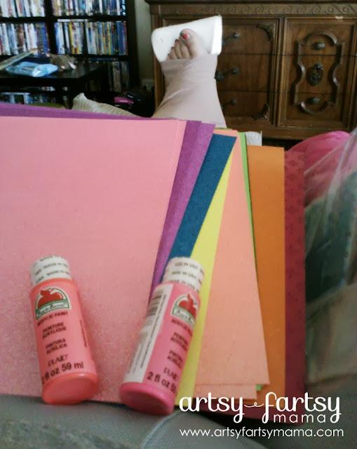 American Crafts Neon Glitter Cardstock & Apple Barrel Neon Acrylic Paint
