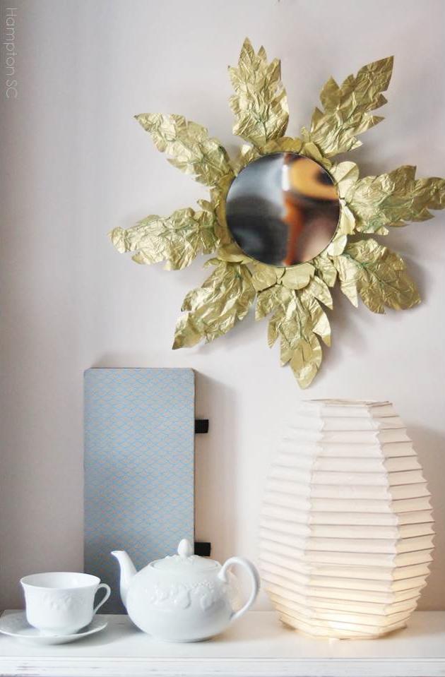 Espejo sol de papel de seda diy hampton sc for Como decorar un espejo cuadrado