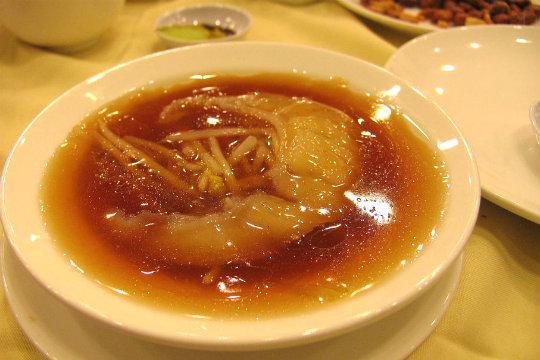 Shark fin soup,...