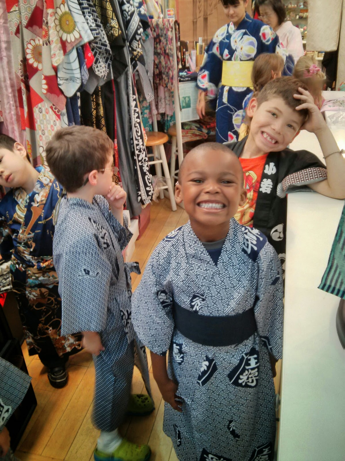 small boys in kimonos having fun at Kimono House NY