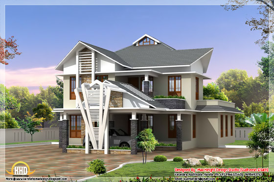 July 2012 kerala home design and floor plans for Different elevations of house