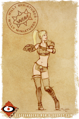Concept art by ªRU-MOR for Blood Bowl Amazon Team Thrower miniature of Willy Miniatures