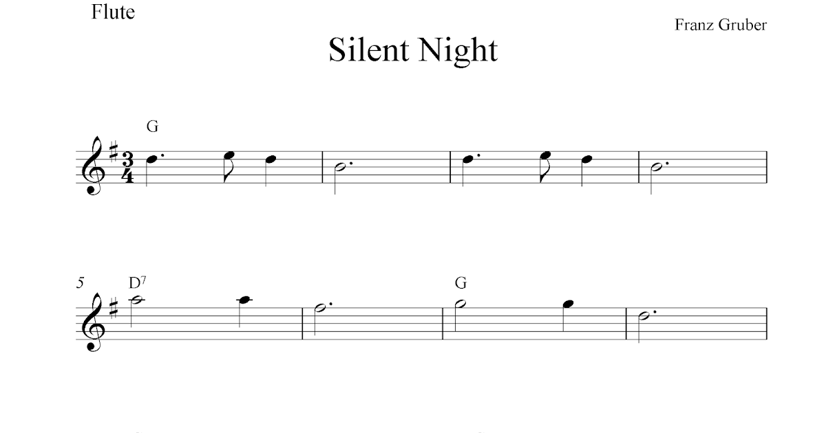 Silent Night, free Christmas flute sheet music notes