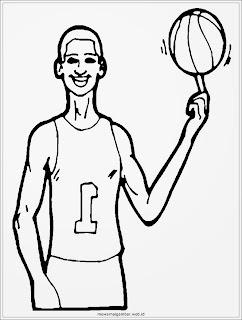 mewarnai gambar pemain basket