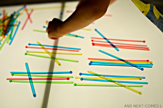 Elementary math for kids: tally marks on the light table from And Next Comes L