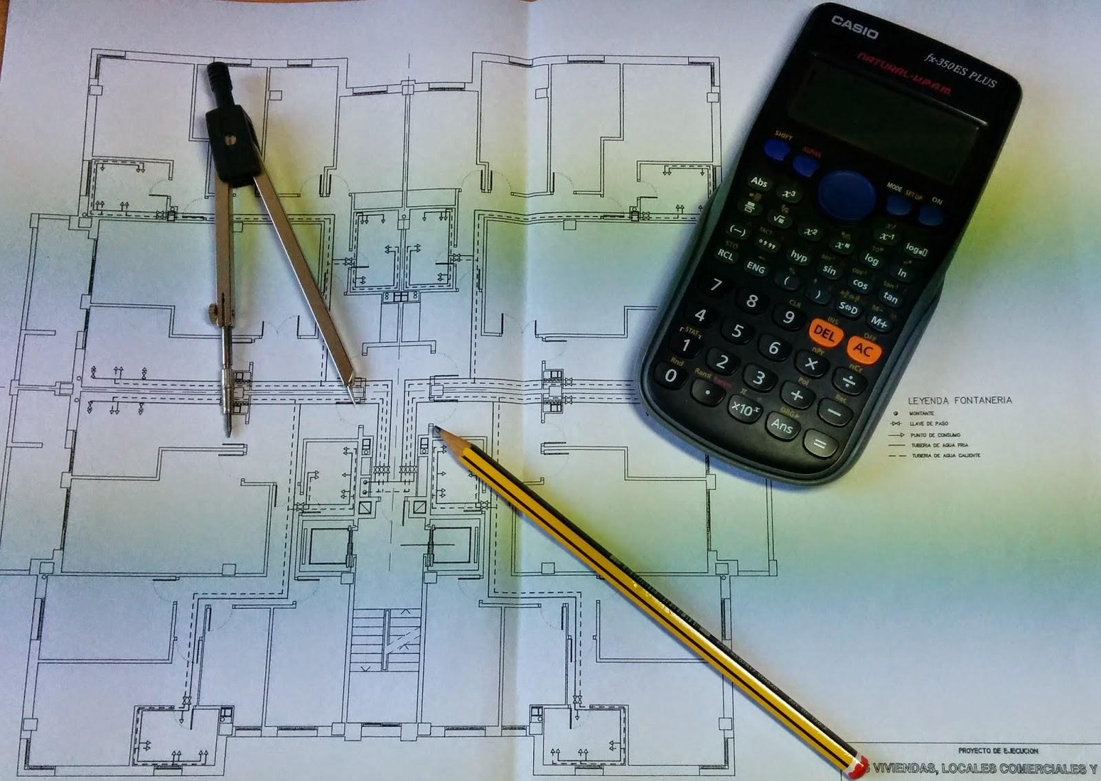 plano con compás y calculadora