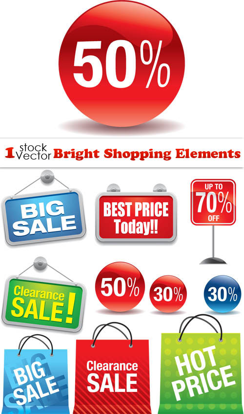 Laku.com belanja online Bright Shopping Elements Vector