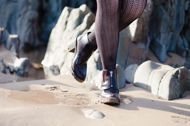 fishnet tights burgundy boots