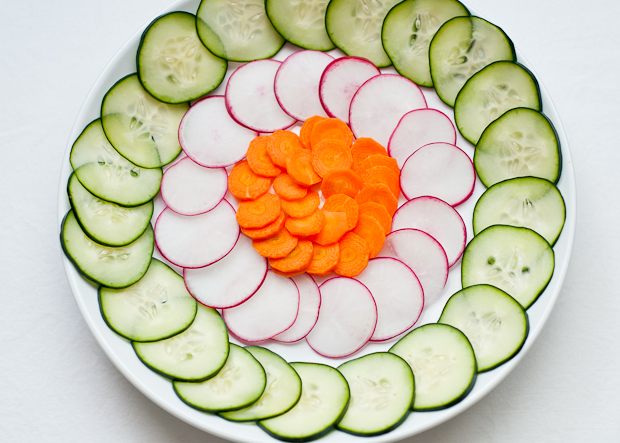 Shaved Radish, Carrot, Cucumber Salad with Tangerines and Microgreens