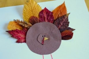 Paper Turkey with Leaves as Tail Feathers