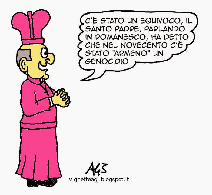 Vaticano, papa francesco, turchia, armeni, genocidio, satira vignetta