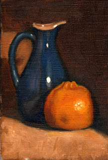 Oil painting of a blue porcelain sauce jug beside a mandarine.