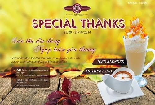 Cafe Trung Nguyên ưu đãi đặc biệt tri ân khách hàng
