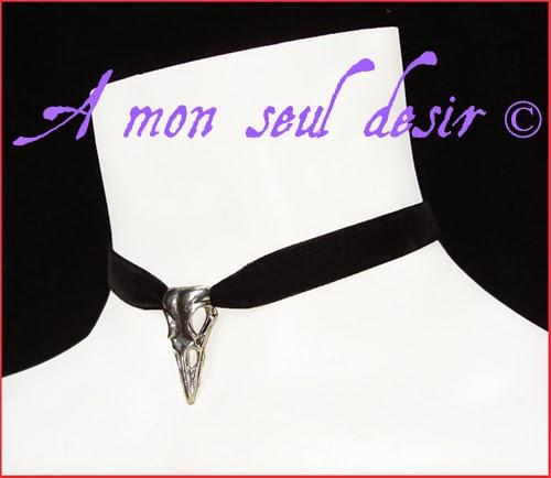 Collier gothique velours crâne corbeau oiseau raven crow skull bird choker velvet gothic necklace goth jewelry