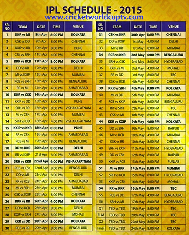 IPL Schedule 2015 Cricket