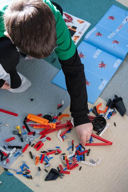 assembling LEGO truck