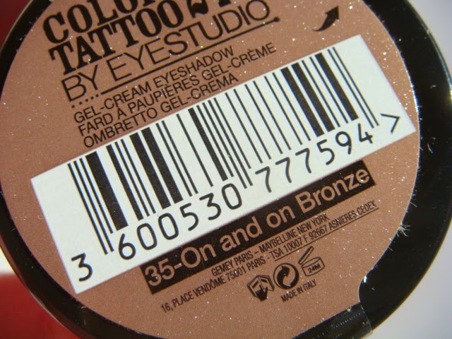 Colour Tattoo 24H de Maybelline New York on and the on bronze
