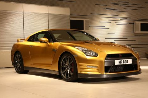 usain bolt gold plated nissan gt-r car photo