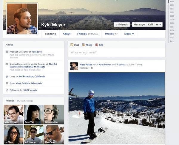 Redesigned Timeline of Facebook