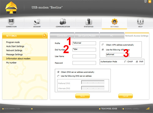 cara setting modem zte kartu telkomsel profile diisi dengan telkomsel
