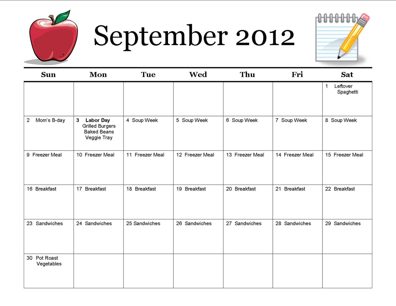 monthly meal planner template new calendar template site