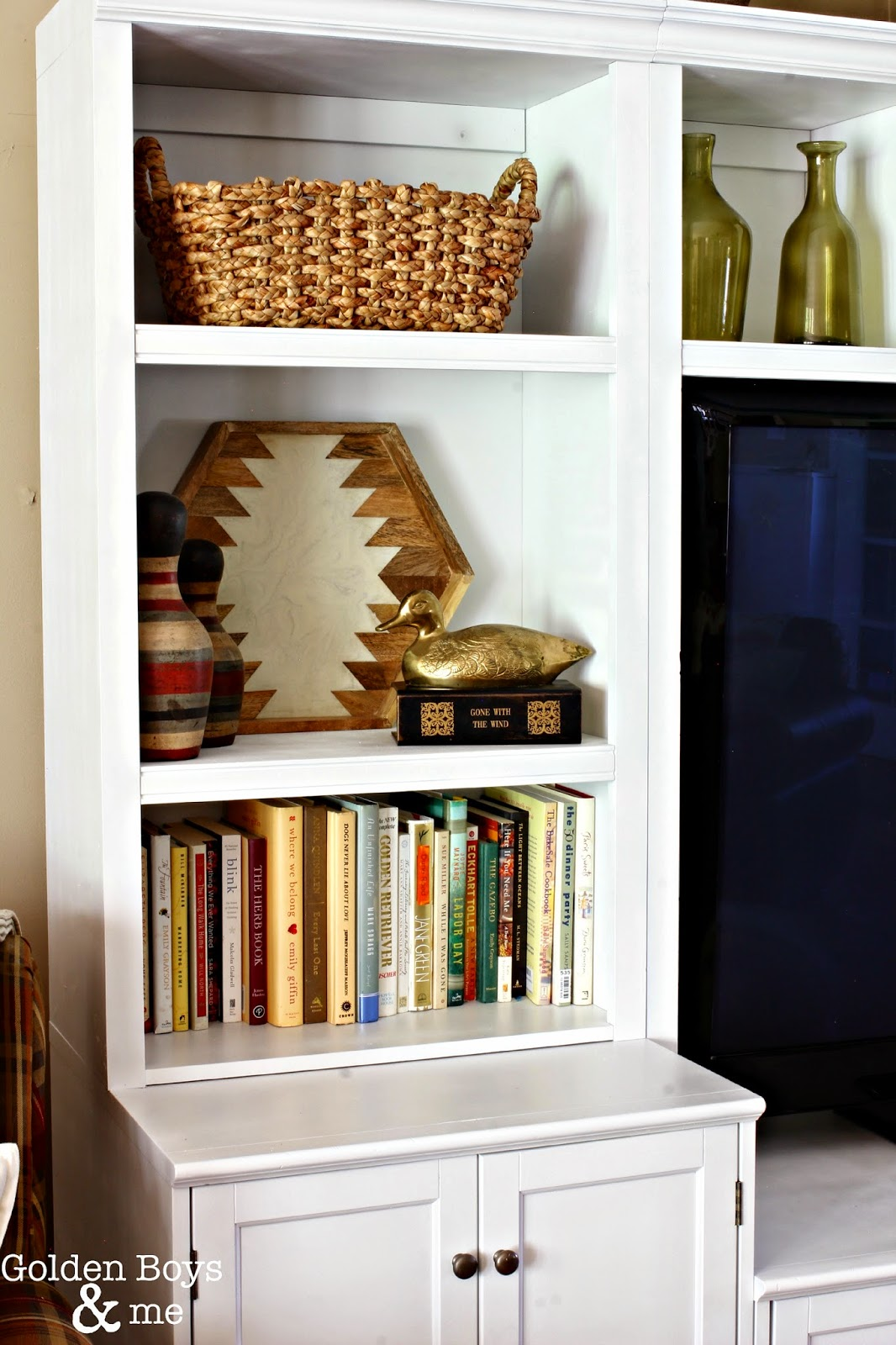 Bookcase styling in white painted wall unit-www.goldenboysandme.com