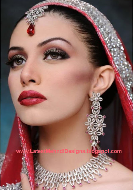 North Bridal Makeup Pictures : Latest Indian Sudani Pakistani arabic arabian Mehndi ...