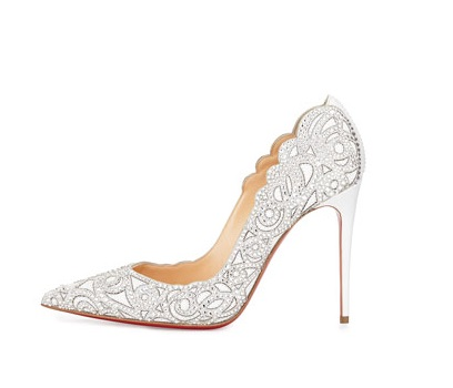 Christian Louboutin Scalloped collar high heels with crystals
