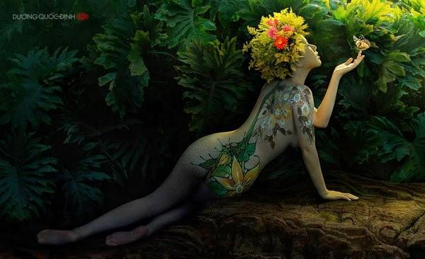 Ảnh gái xinh Body painting của Dương quốc định 5