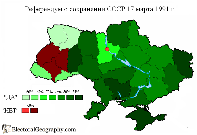 On March 17, 1991, 70% of Ukrainians voted to remain...