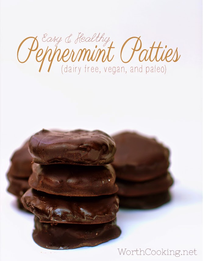 Easy and Healthy Peppermint Patties, Dairy free, Vegan and Paleo from Worth Cooking!