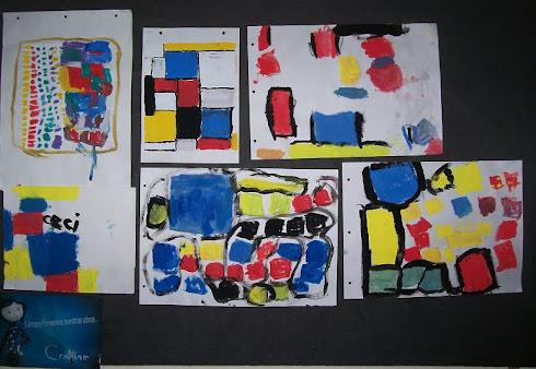 Pintamos con colores primarios con ayuda de Mondrian