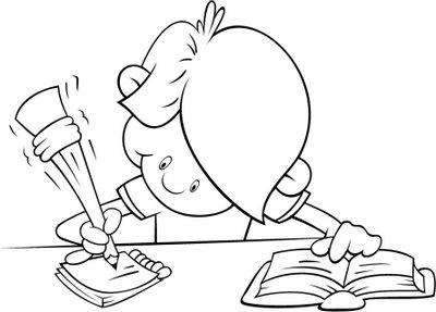 Niña estudiando en caricatura - Imagui
