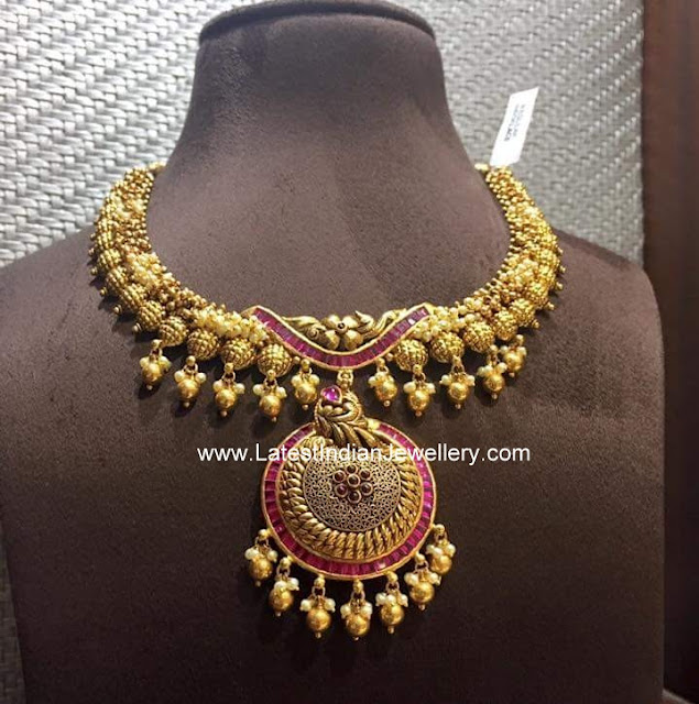 Antique Necklace with Pink Rubies