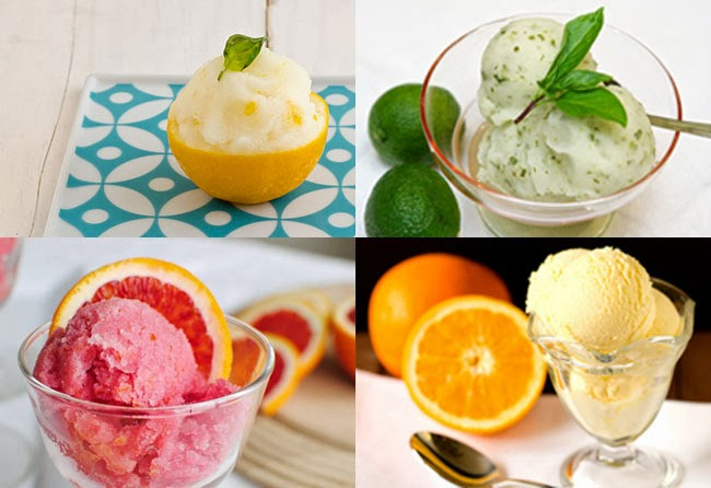 Lemon, lime, grapefruit, orange sorbet